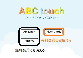 ABC touchのホーム画面。 アルファベットとフォニックスは黒色で囲んであり、無料会員でも使えます。 フラッシュカードは赤色で囲んであり、有料会員のみ使えます。
