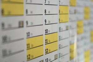 カレンダーの写真です。建築家との打ち合わせの日程調整のイメージです。